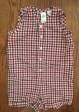 Baby Gap Boys 6-12m Navy Red White Gingham Summer Romper Cotton EUC