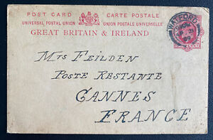 1909 Watford England Postcard Postal Stationery Cover To Cannes France
