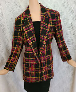 VTG 80s HARRIS WALLACE WOOL BLEND PLAID LONG ONE BUTTON LINED BLAZER JACKET  M