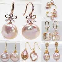 1Pair Women Pink Baroque Hoop Huggies Ear Stud Earrings Gothic Classic Gift