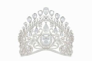 150ct Cushion-cut Russian Kokoshnik Royal Crown Vintage Style Handmade Tiara