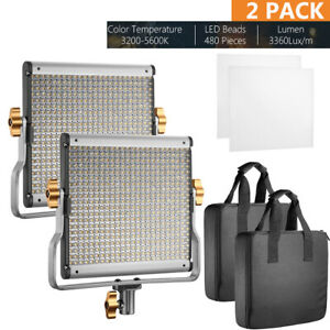 Neewer 2 Packs Video Photography Light Lighting Kit Dimmable Bi-color 480 LED