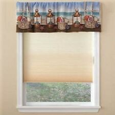 Nautical Seashell & Hurricane Lamps Seaview Scenic Tapestry Window Valance,54x16