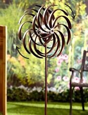 Weather Resistant Double Spiral Solar Lighted Garden Wind Spinner Yard Art Decor