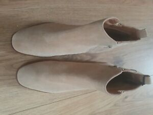 M&S Ladies Tan Leather Upper Ankle Boots Uk Size 6.5