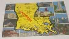 Vintage 1940's linen postcard LOUISIANA   state map &  famous views tourism card