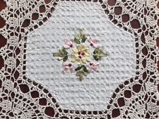 "6 PCS 12"" Square Crochet Lace Doily COLOR Beige   100 % COTTON"