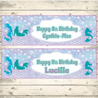 2 PERSONALISED MERMAID SILHOUETTE  BIRTHDAY BANNERS - ANY NAME - ANY AGE