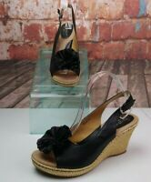 BOC Leather Wedge Sandals W/ Florets SIze 10