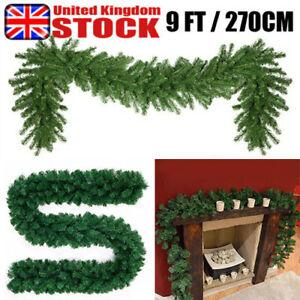 9FTx28cm Christmas Garland Decorations Fireplace Artificial Wreath Pine Green UK