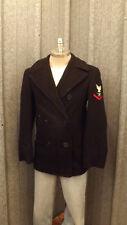 Vtg US Navy Wool Pea Coat Stenciled 1959 Fire Controlman Patch Vietnam Era sz S