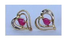 Ladies Genuine Ruby Heart Earrings With Genuine Diamonds - 10K Yellow Gold