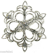 BROOCH SILVER SNOWFLAKE DIAMANTE VINTAGE SHOE PIN BRIDAL CAKE DECORATION  NEW UK