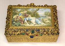 Turn Of The Century Austria Bronze Box with Pearls and Semi Precious Stones