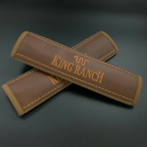 Brown Seat Belt Shoulder Pads Covers with brown embroidery Fits King Ranch 2pcs