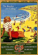 Beaches are Calling Queensland Brisbane Sydney Melbourne  Travel Poster Print