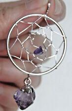 """Pendentif métal argenté """" Attrape reves"""" AMETHYSTE long 5 cm bijoux"""