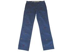 Polo Ralph Lauren Blue Nautical Flags Cotton Stretch Chino Pants 40 x 32