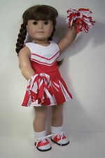 """3pc RED Cheer Cheerleader Doll Clothes Pom-Poms For 18"""" American Girl (Debs)"""