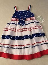 NWT Bonnie Jean 4th of July Red White Blue Stars Gingham Dress Size 6