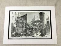 Napoli Italia Italiano Mercato Street Scena Vittoriano Originale Antico Stampa