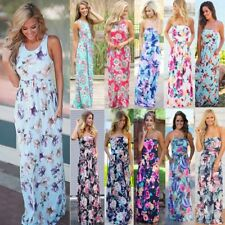 Womens Floral Print Sleeveless Dress Ladies Boho Long Maxi Summer Evening Party