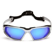 Pyramex Highlander Safety Glasses with Blue Anti-Fog Mirror Lens