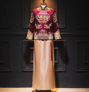 Mens wedding Tang Suits Stand Collar Embroidery bridegroom Chinese Style Casual