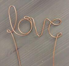 LOVE Rustic Wedding Copper Gold Silver Wire Cake Topper Decoration