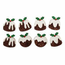 8 Self Adhesive Glitter Festive Puddings for Christmas Crafts