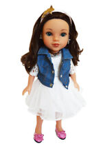 Doll Clothes 14.5 Inch Wellie Wishers Dress White Jean Vest  Fit 14.5 Inch Dolls