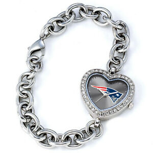New England Patriots Game Time NFL Crystal Heart Shape Series Wrist Watch