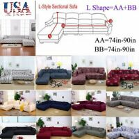 Sectional Sofa Couch Cover L Shape 2pcs Fabric Stretch Sofa Slipcover+Pillowcase
