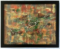 Original Art Abstract Painting 14x11 Inches Oil And Acrylic Artist Signed Framed