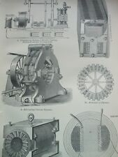 ANTIQUE PRINT DATED C1870'S VOLTAIC ELECTRICITY ENGRAVING TRANSFORMER DYNAMO ART