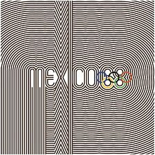 MEXICO CITY 1968 Mexico68 Olympic Games Poster Wyman BROWN with Colored Rings
