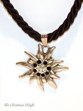 German Bavarian Women's Oktoberfest Jewelry - Black Swarovski Edelweiss Necklace