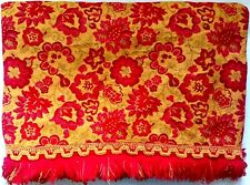 Vintage Brocade Bedspread  Golden/Yellow Red Fringed Flower Power Cannon Twin