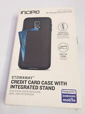 Incipio Stowaway Black Credit Card Case Cover with Stand Samsung Galaxy S5