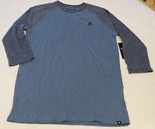 Hurley L Mens surf skate long sleeve striped t shirt NEW Stitch Raglan 4JQ blue