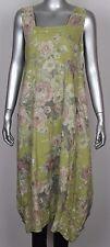 New Ladies Floral Italian Lagenlook Quirky Long Boho Pocket Linen Tunic Dress