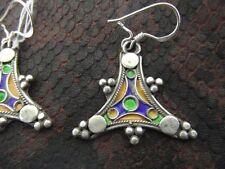 Silber Antik Stil Paar Ohrringe Tuareg Berber  Marokko Emaille Schmuck Emaille