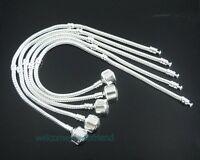 5pcs Snake Chain Silver /P Charm Bracelets Fits European Beads Choose Sizes P01