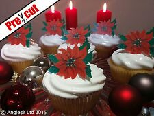 24 X PRE-CUT CHRISTMAS POINSETTIA EDIBLE WAFER PAPER CUP CAKE TOPPER DECORATIONS