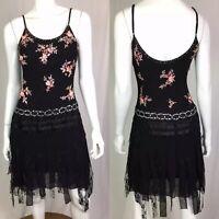 $350 Sue Wong Womens 4 Black Silk Beaded Floral Roses Appliqué Lace Formal Dress