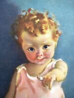 """Precious Vintage Print of Toddler w/ Bandage on Finger & Kitten by """"Nell Hott"""" *"""