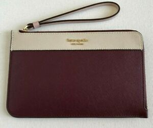 New Kate Spade New York Cameron Medium L-zip wristlet Cherry / White