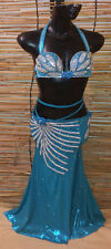 Egyptian Belly Dance Costume bra & Skirt Professional Dancing Cobalt Silver