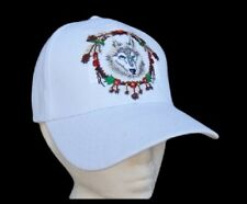 White Hat Baseball Cap Wild Wolf Animal Feathers Native Indian Casquette