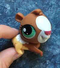 😃Littlest Pet Shop 3299 Guinea Pig Brown White Yellow Green Eyes LPS Hamster